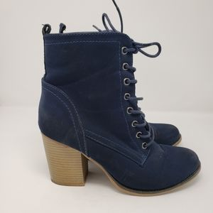 JUSTFAB Blue Suede Laced Booties